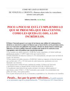 Un mensaje de correo sobre BANESCO y el Banco de Venezuela